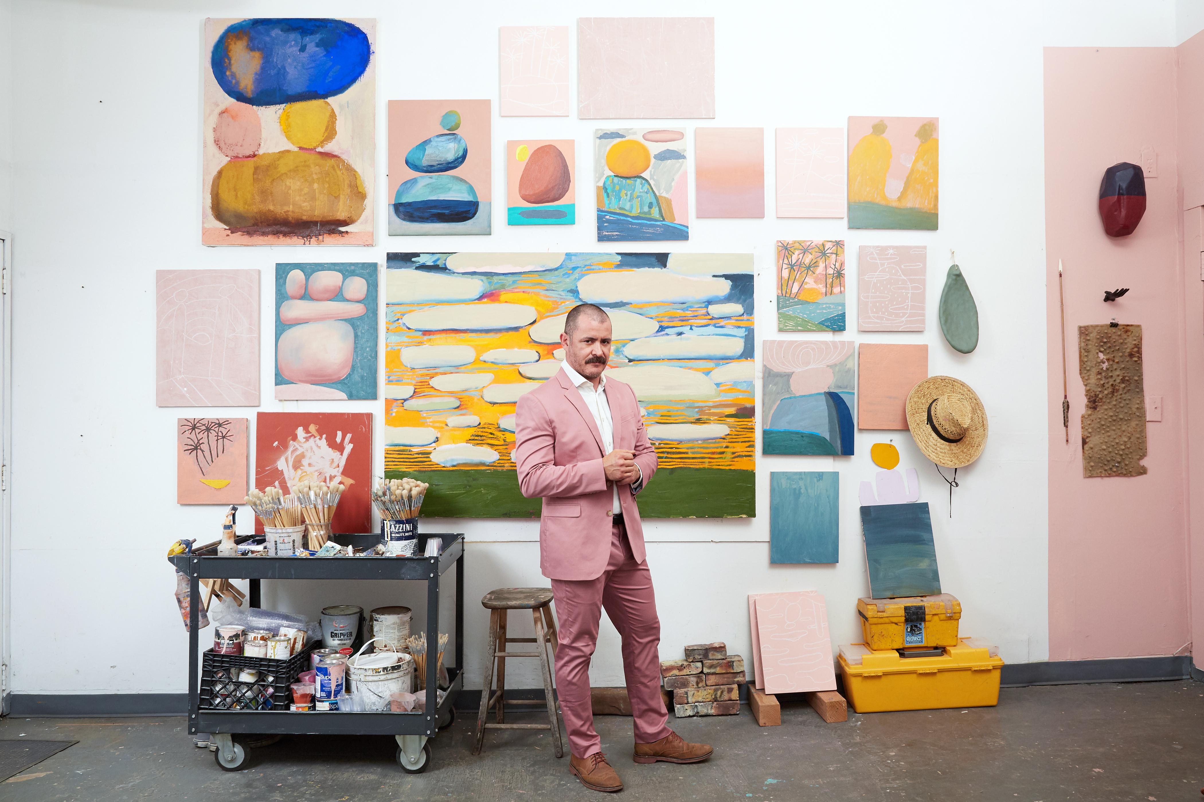 Artist Abel Macias in his studio, Los Angeles, CA, copyright Dia